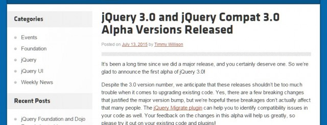 jQuery 3.0 and jQuery Compat 3.0 Alpha Versions Released   Official jQuery Blog